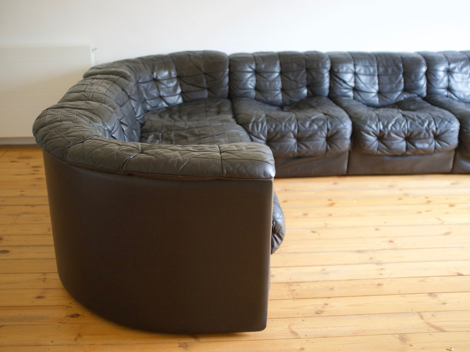 Modular Black Leather Sofa From De Sede 1970s For Sale At