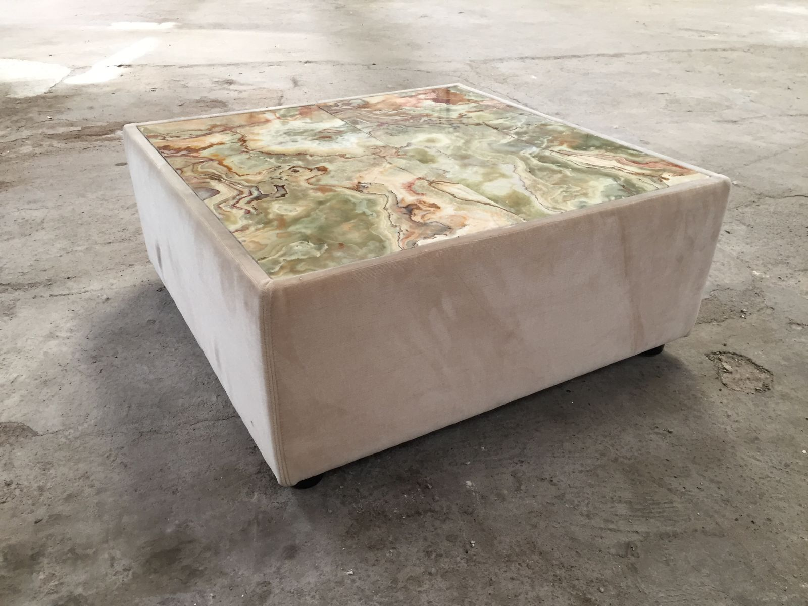 Velvet coffee tables with marble tops 1970s set of 2 for for Marble coffee table sets for sale
