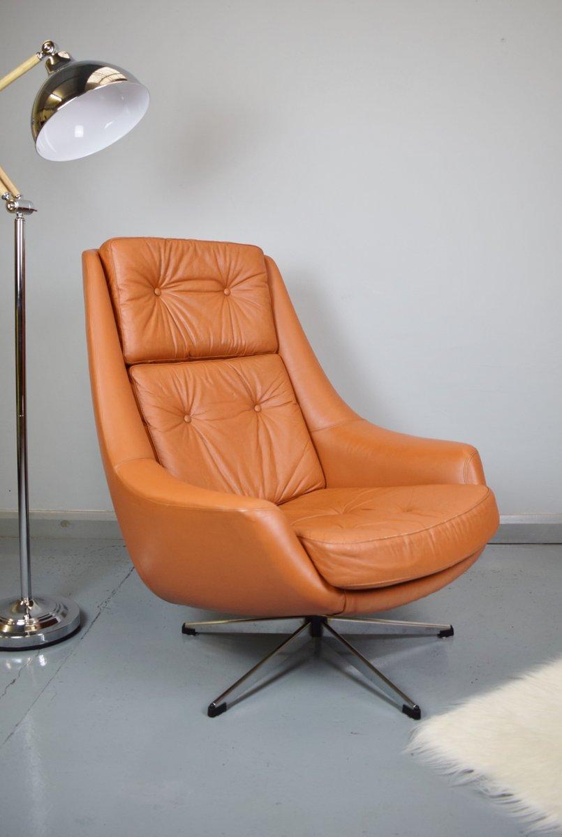d nischer leder drehsessel von h w klein f r bramin. Black Bedroom Furniture Sets. Home Design Ideas
