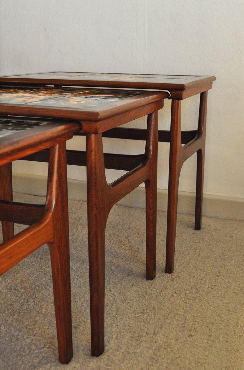 Danish teak nesting tables with ceramic tiles s for
