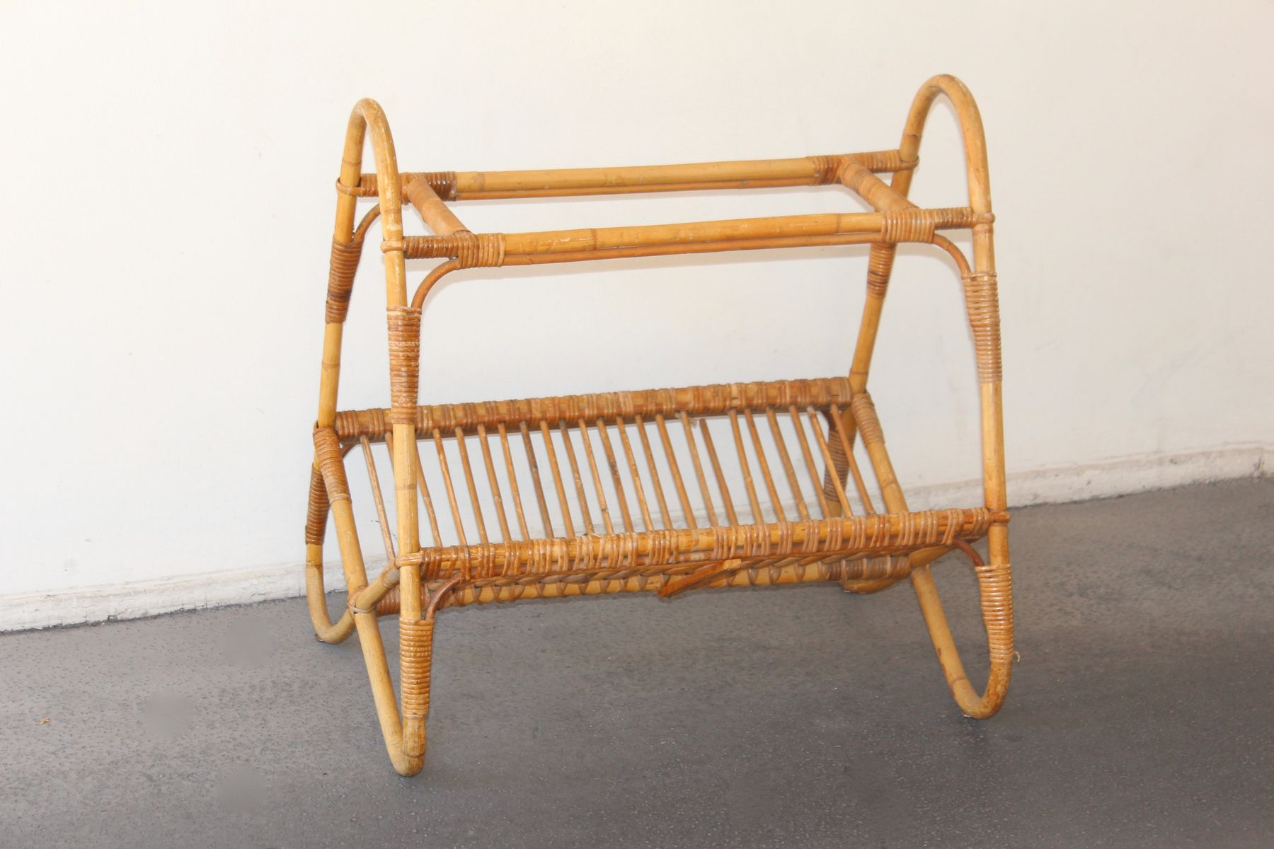 French Rattan Magazine Rack 1950s for sale at Pamono