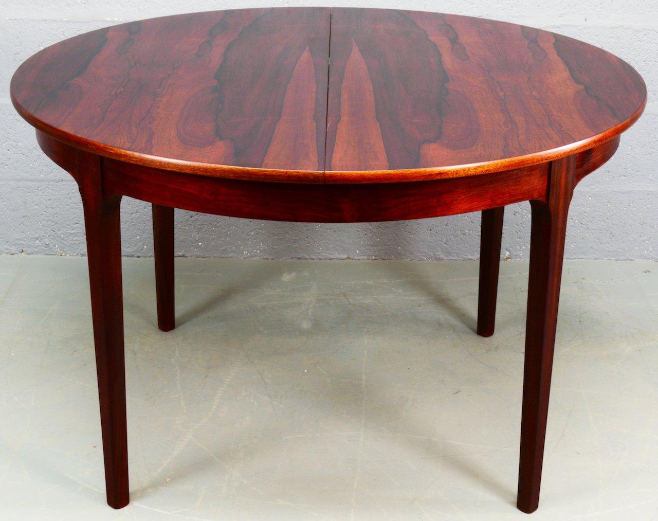ausziehbarer runder mid century palisander esstisch von nathan bei pamono kaufen. Black Bedroom Furniture Sets. Home Design Ideas