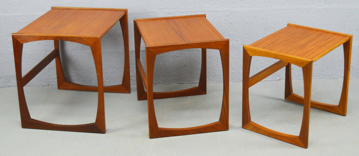 Teak Tables And Chairs mid-century quadrille nest of teak tables from g-plan, set of 3