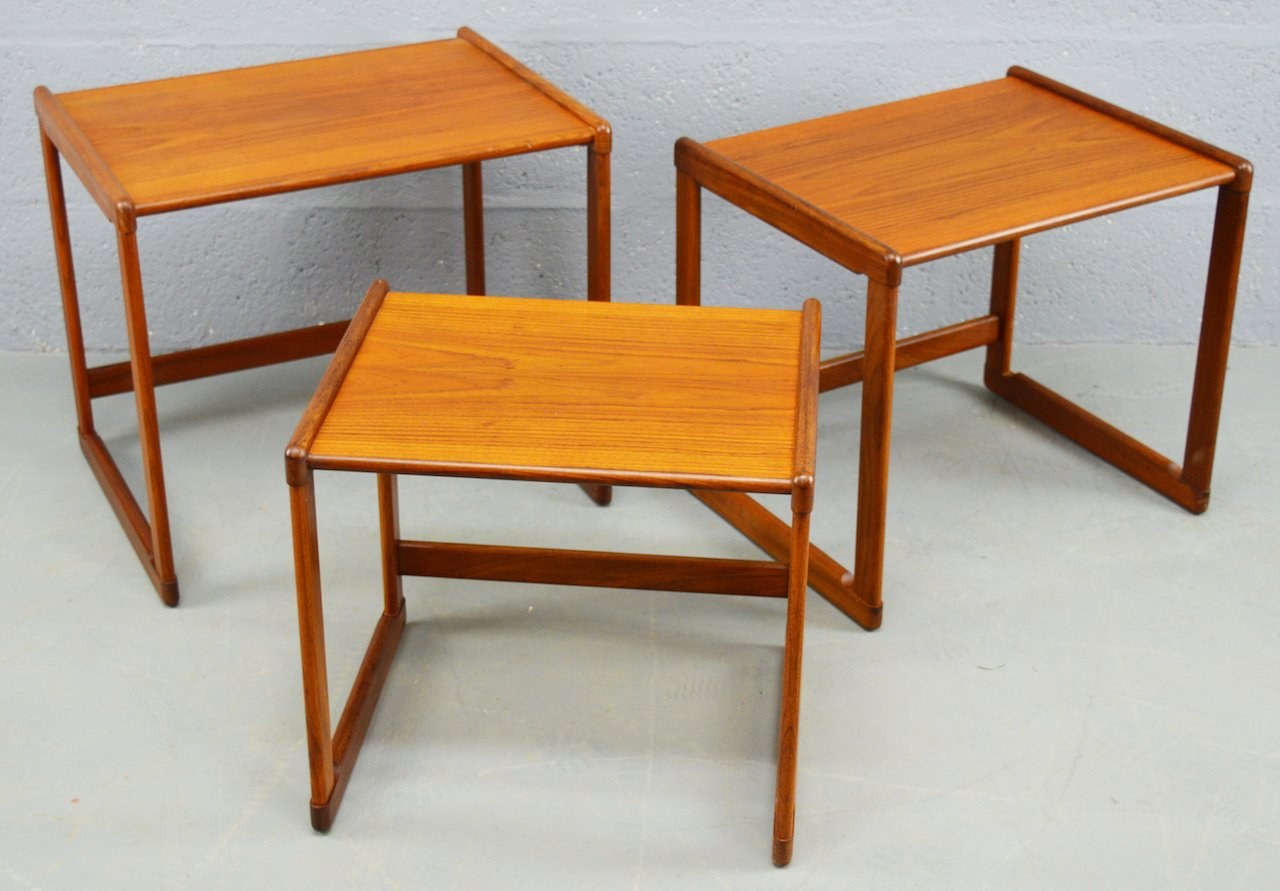 Mid Century Danish Teak Nest Of Tables, Set Of 3