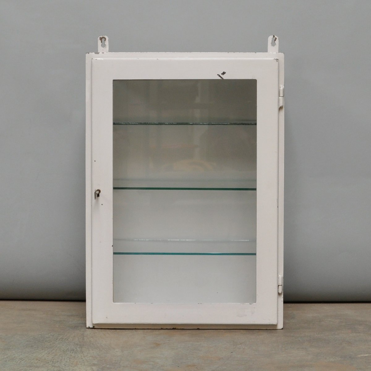Elegant Small Hanging Iron And Antique Glass Medicine Cabinet, 1960s For Sale At  Pamono