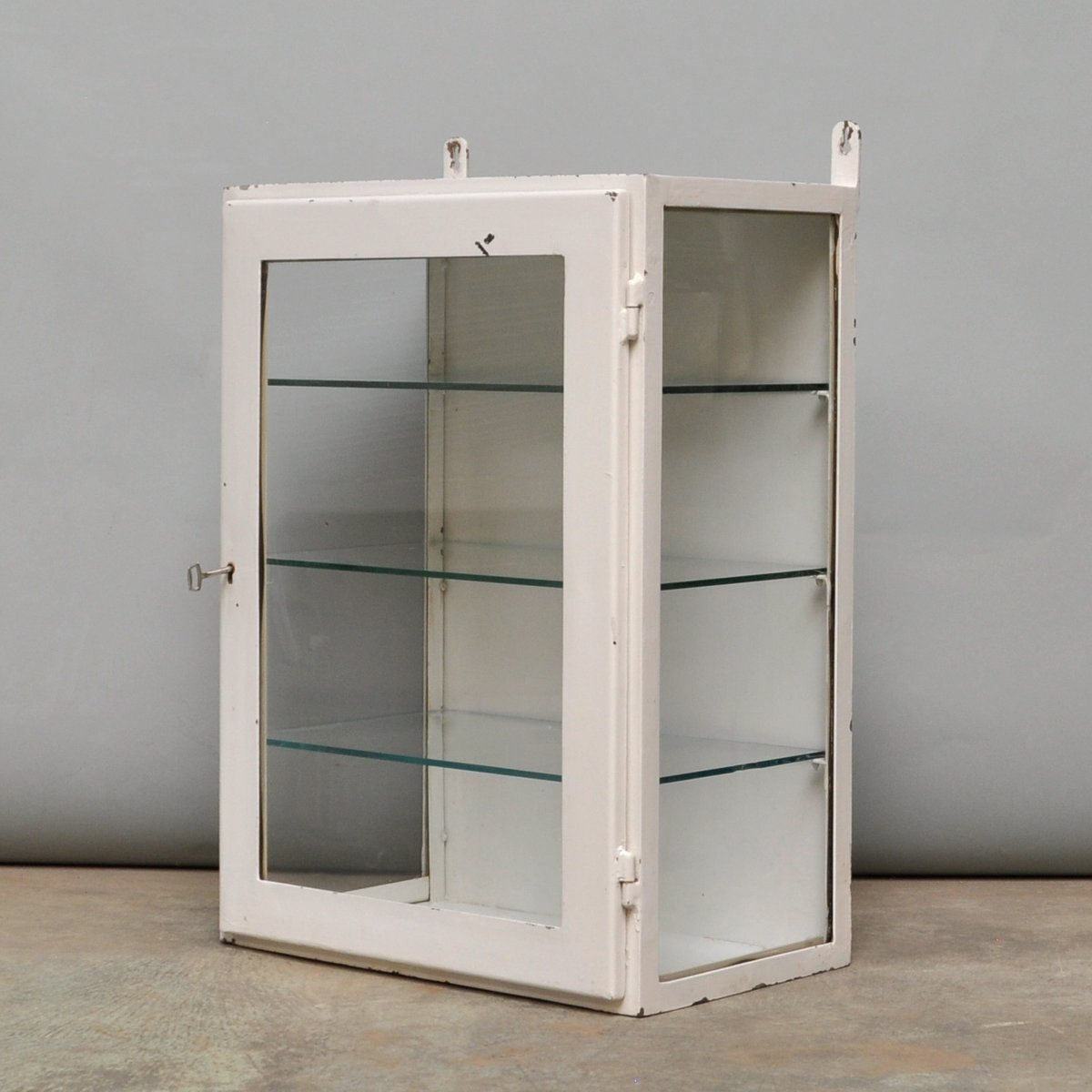 Small Hanging Iron And Antique Glass Medicine Cabinet, 1960s