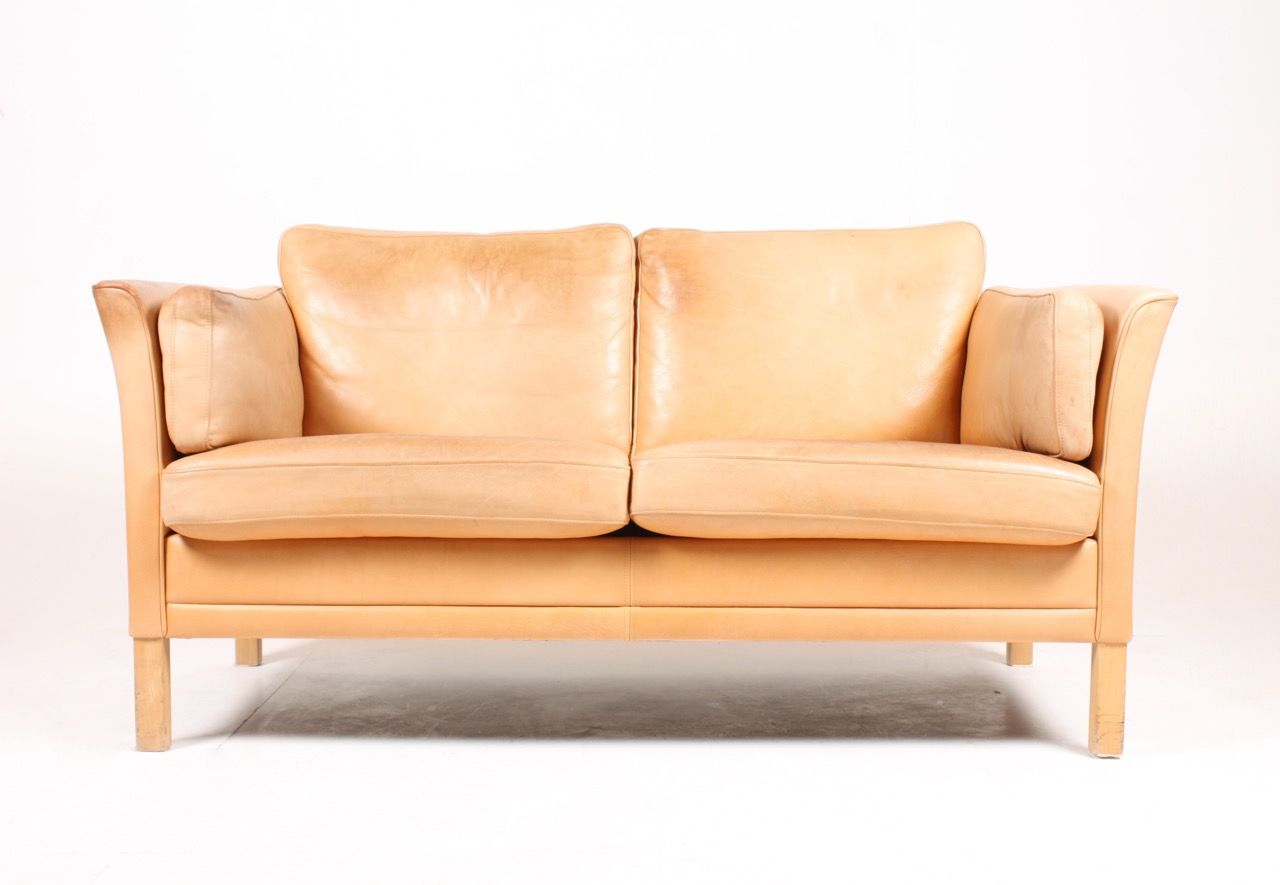 Loveseat In Tan Leather By Mogens Hansen 1980s For Sale At Pamono