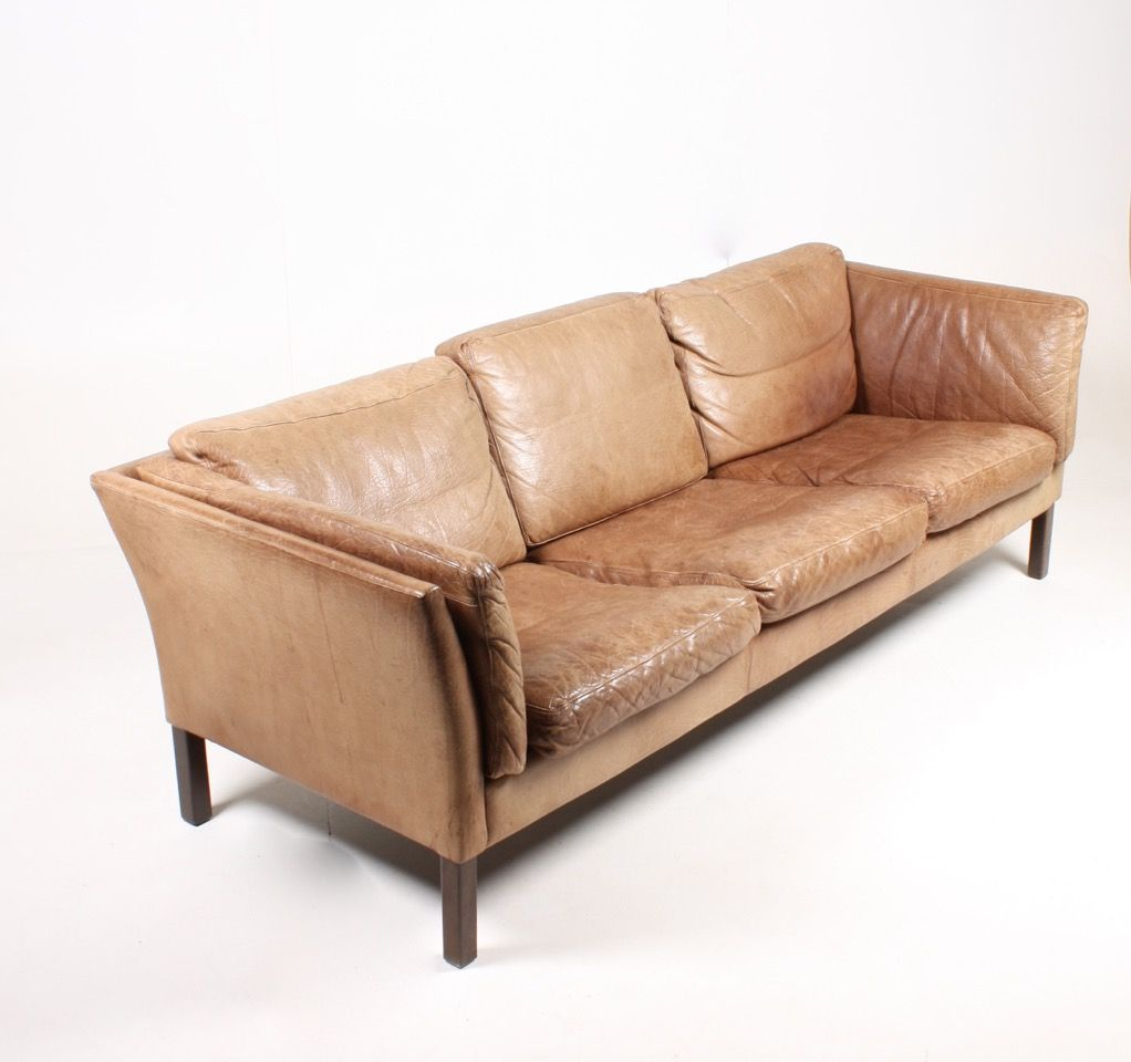 Vintage Danish Three Seater Tan Leather Sofa 1970s For