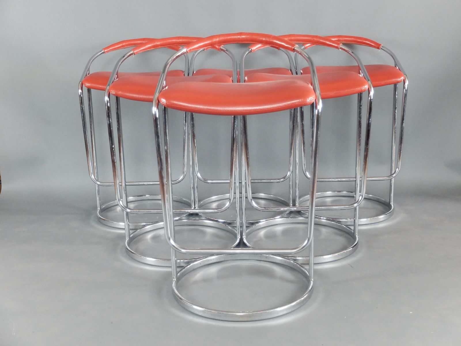 Italian Red Leather Amp Chrome Bar Stools 1970s Set Of 6