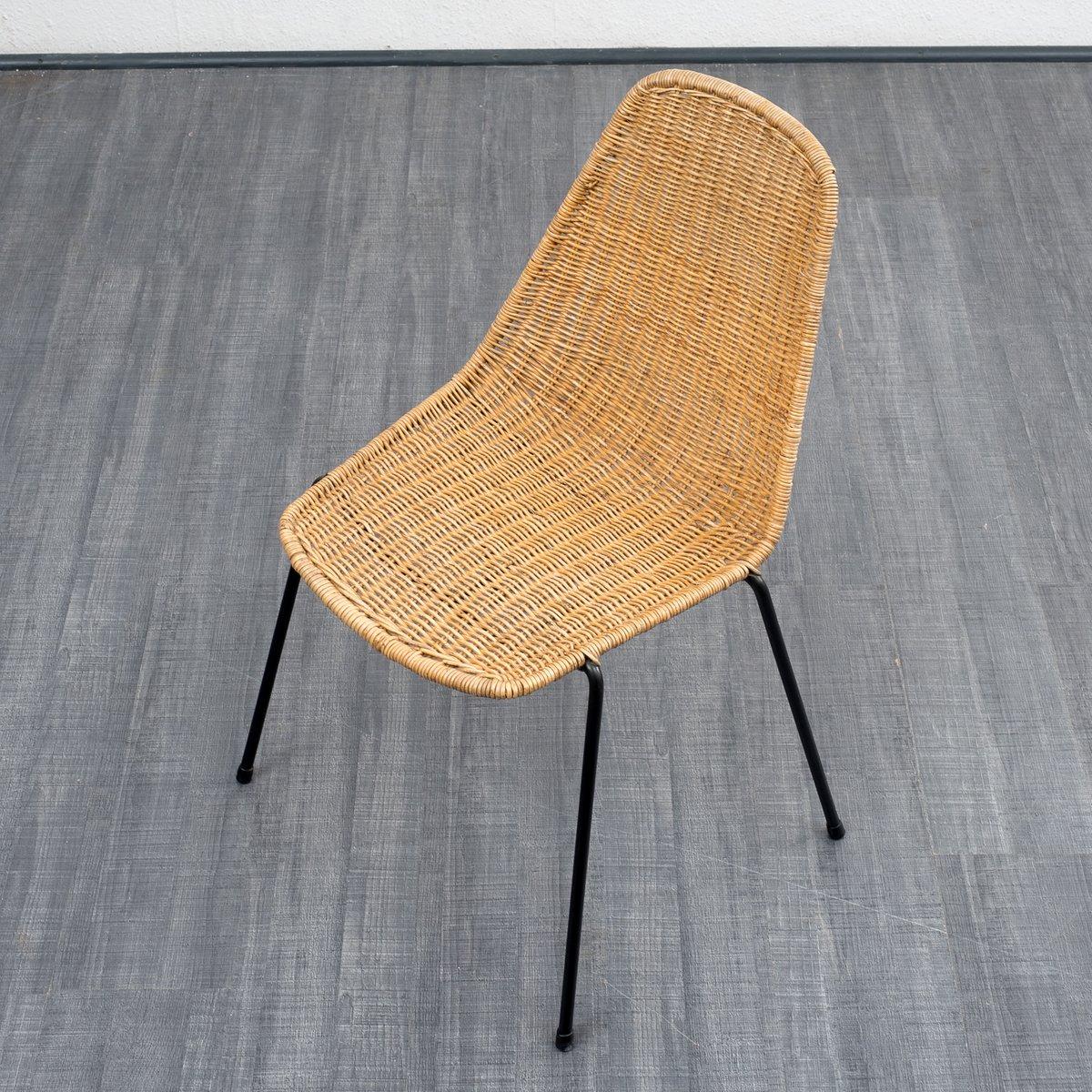 Vintage stuhl aus korbgeflecht 1960er bei pamono kaufen for Stuhl metallbeine
