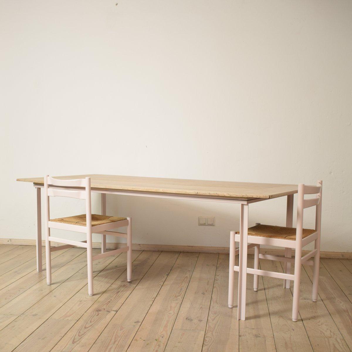 gro er esstisch mit tischplatte aus eiche 1950er bei. Black Bedroom Furniture Sets. Home Design Ideas