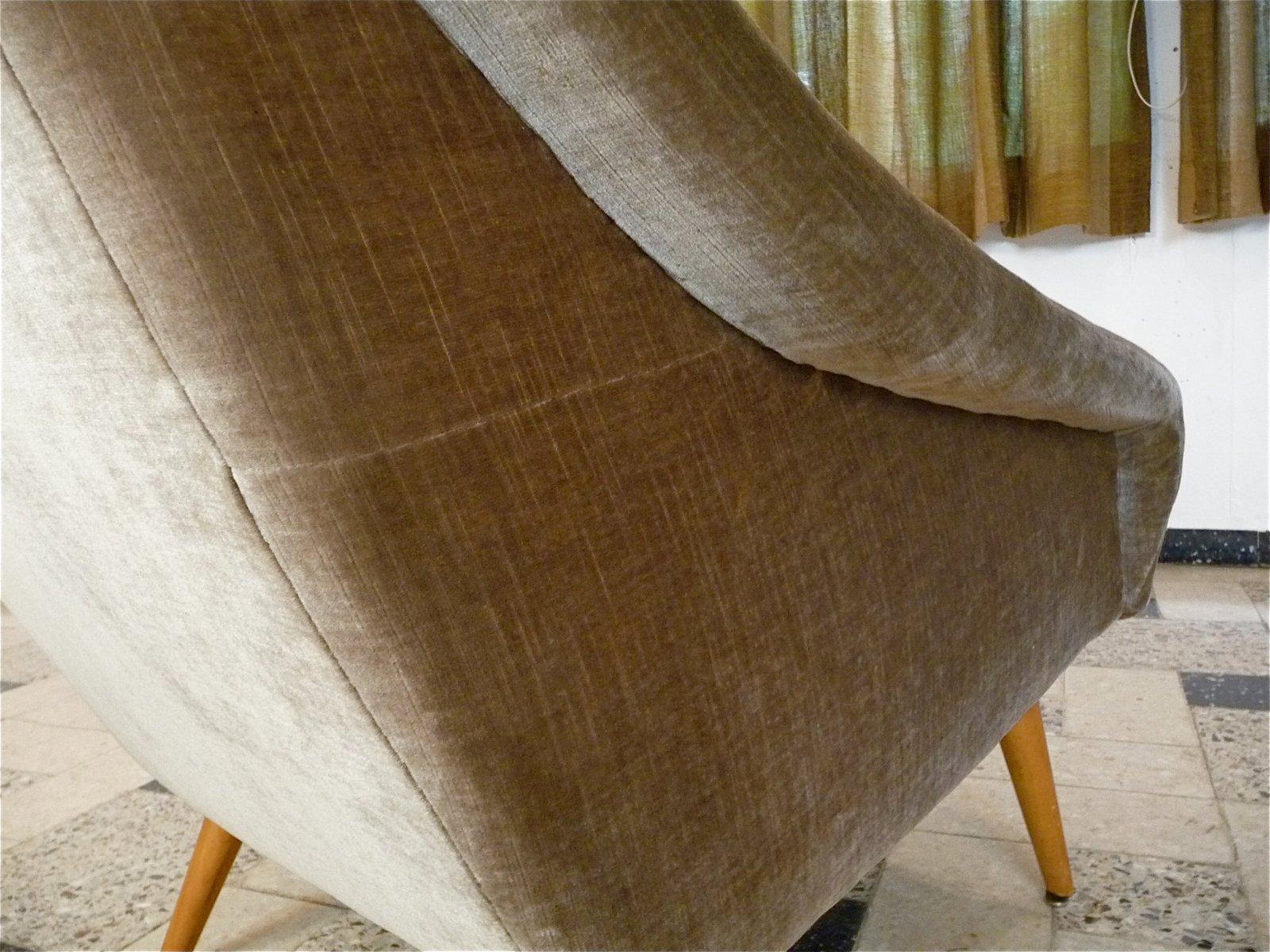 Italian Mohair Velvet Highback Chair 1950s for sale at Pamono