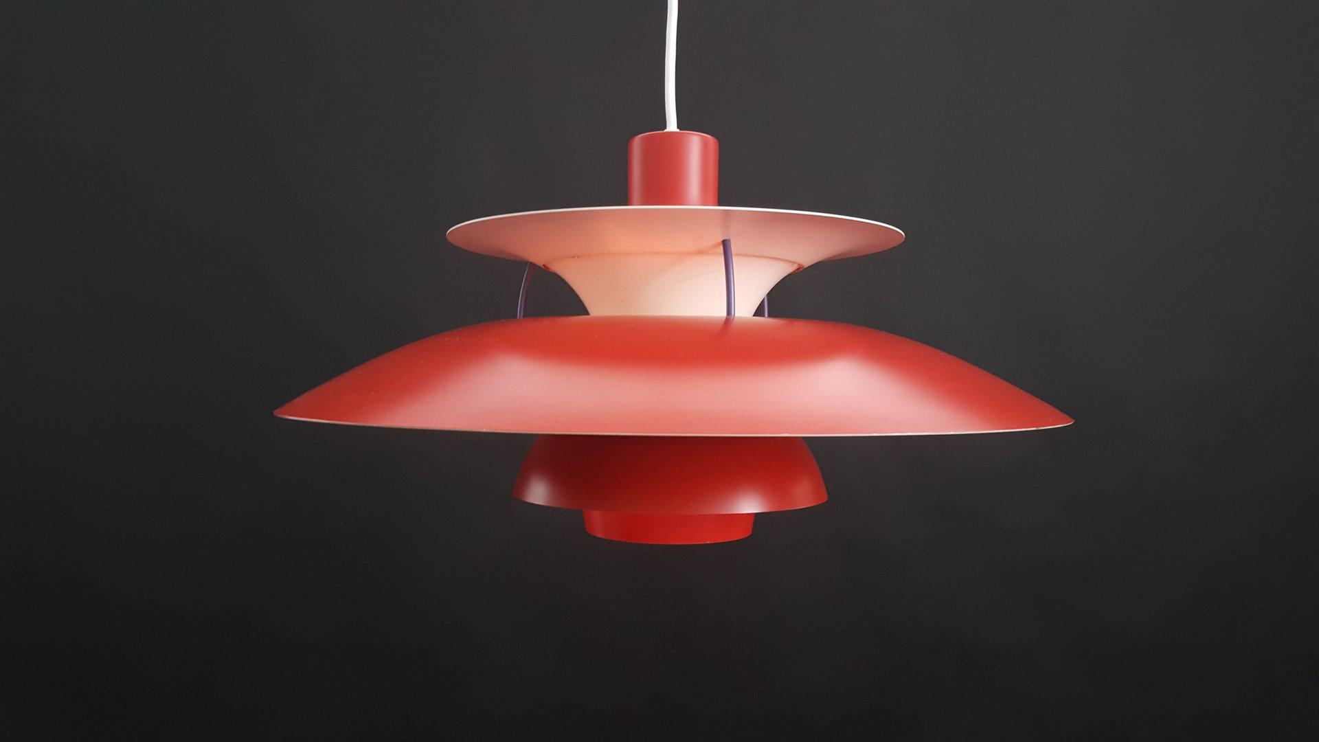 vintage red danish ph5 pendant light by poul henningsen. Black Bedroom Furniture Sets. Home Design Ideas