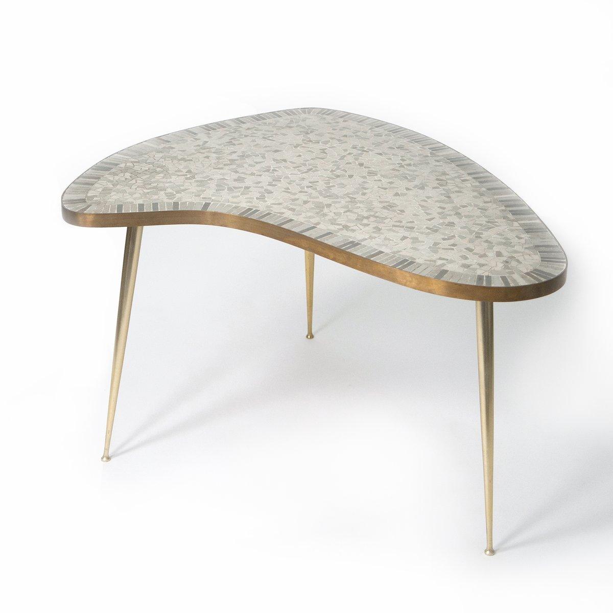 organischer messing couchtisch mit mosaik 1950er bei pamono kaufen. Black Bedroom Furniture Sets. Home Design Ideas