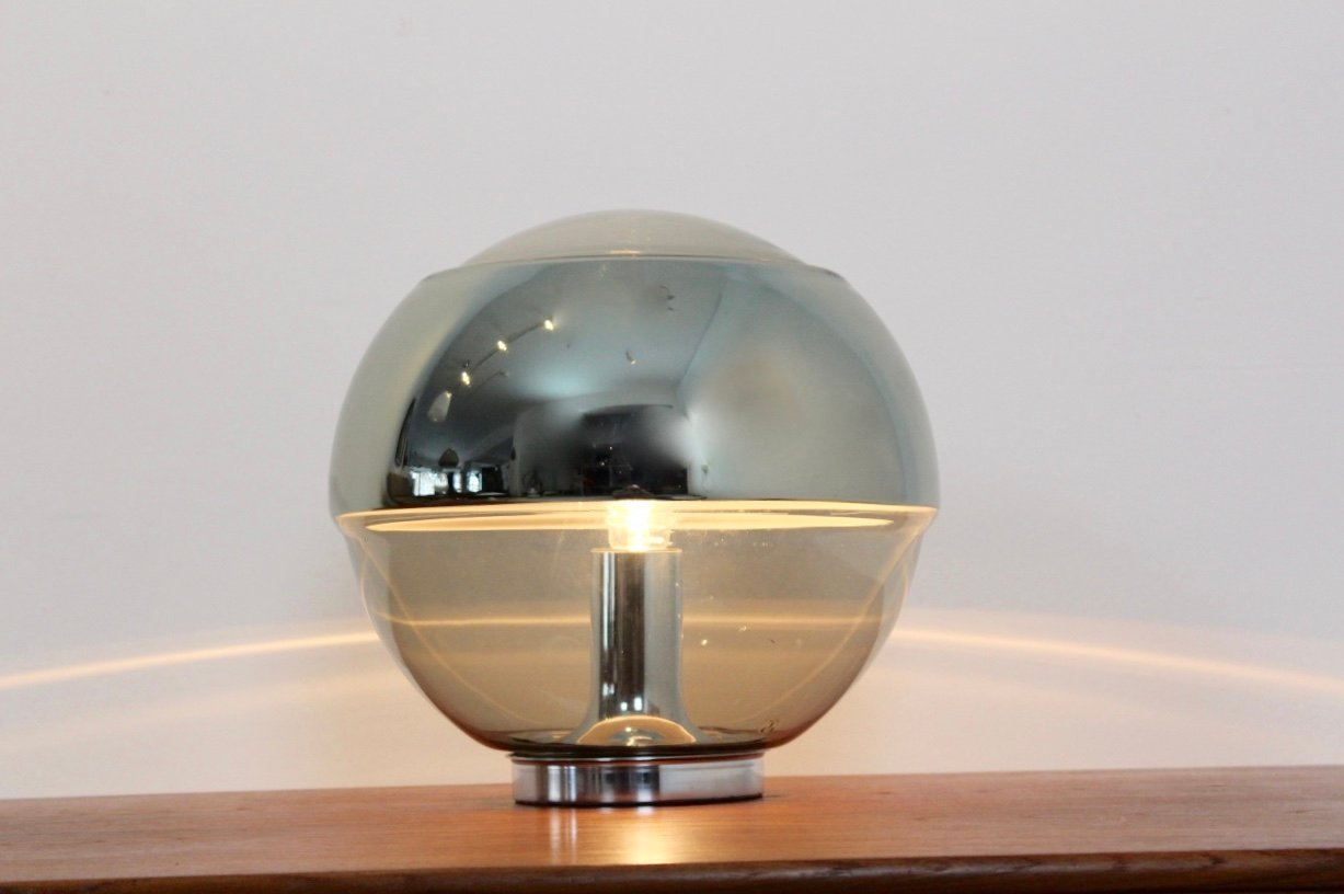 vintage chromed mirror glass table lamp from peill putzler for sale at pamono. Black Bedroom Furniture Sets. Home Design Ideas