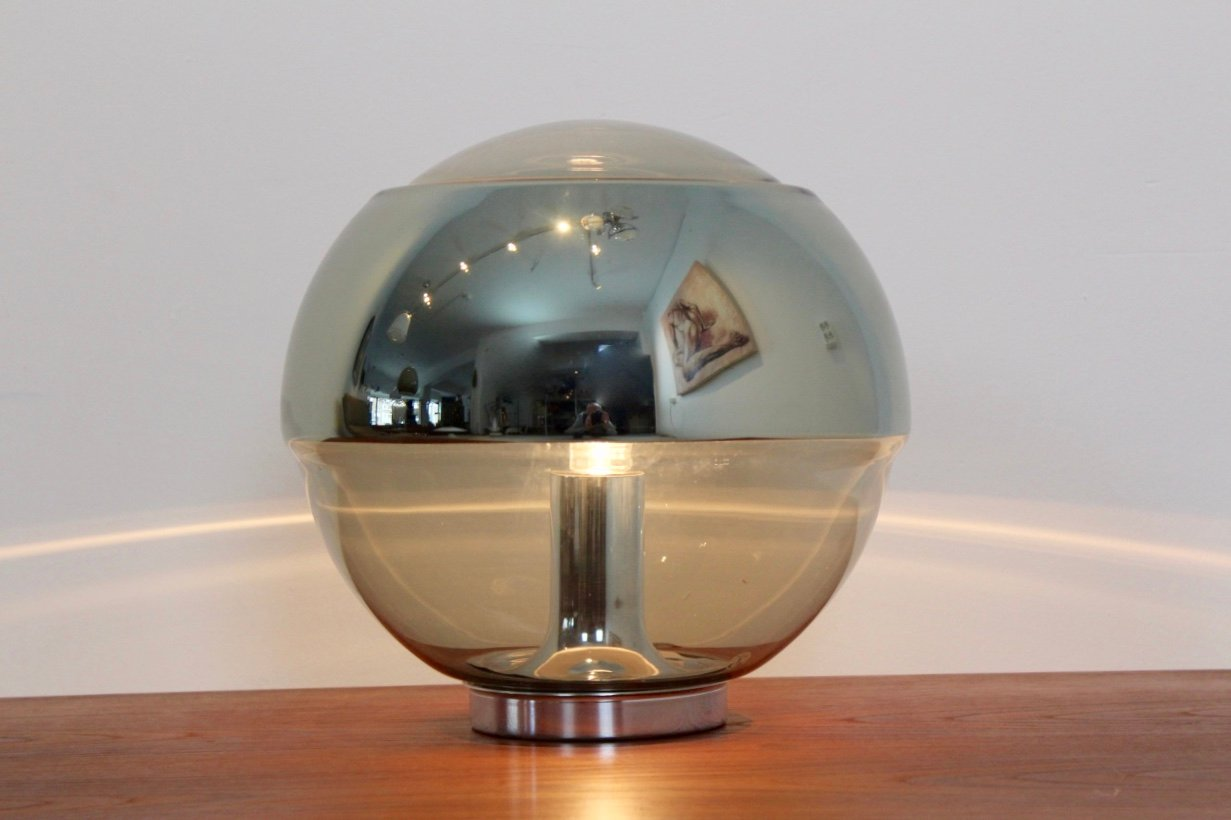 vintage chromed mirror glass table lamp from peill u0026 putzler