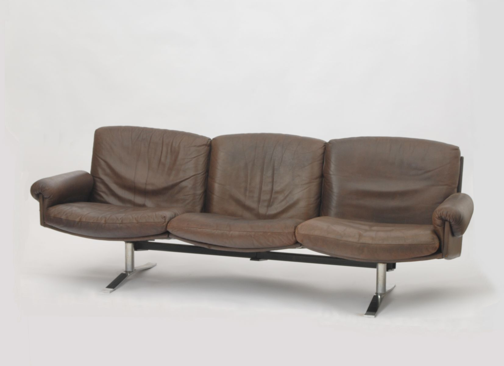 Mid Century German 3 Seater Leather Sofa for sale at Pamono