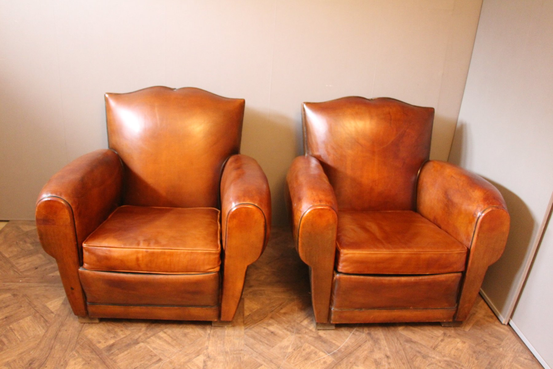 french leather club chairs with mustache backs 1930s set of 2 - Leather Club Chairs