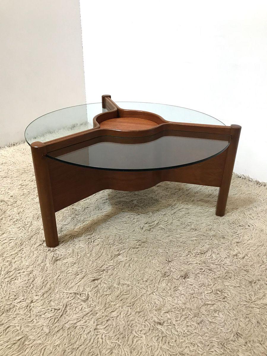 table basse mid century triforme en verre avec centre ajustable de nathan en vente sur pamono. Black Bedroom Furniture Sets. Home Design Ideas