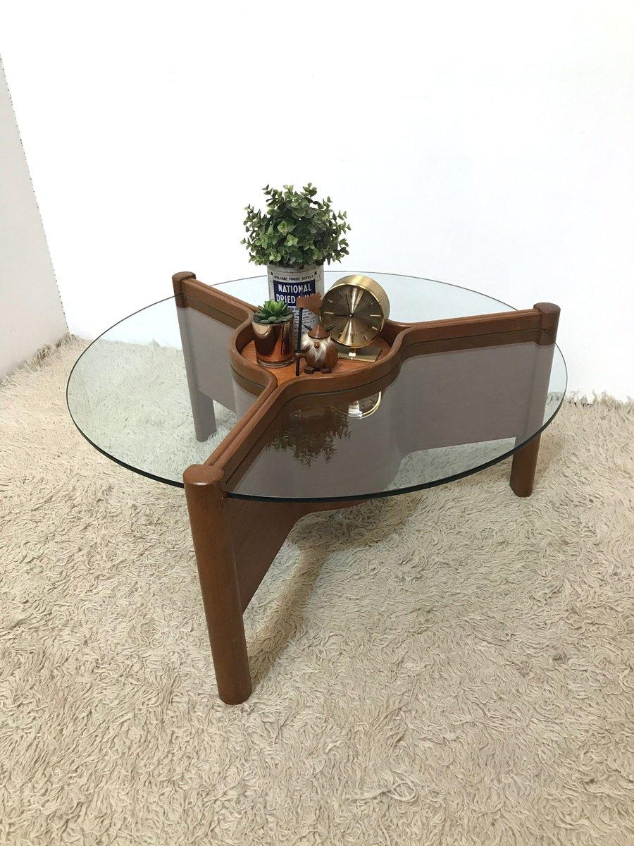 mid century triform teak glas couchtisch mit verstellbarer mitte von nathan bei pamono kaufen. Black Bedroom Furniture Sets. Home Design Ideas