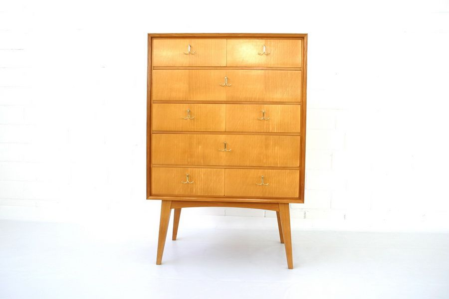 mid century ulmenholz messing kommode von wk m bel. Black Bedroom Furniture Sets. Home Design Ideas