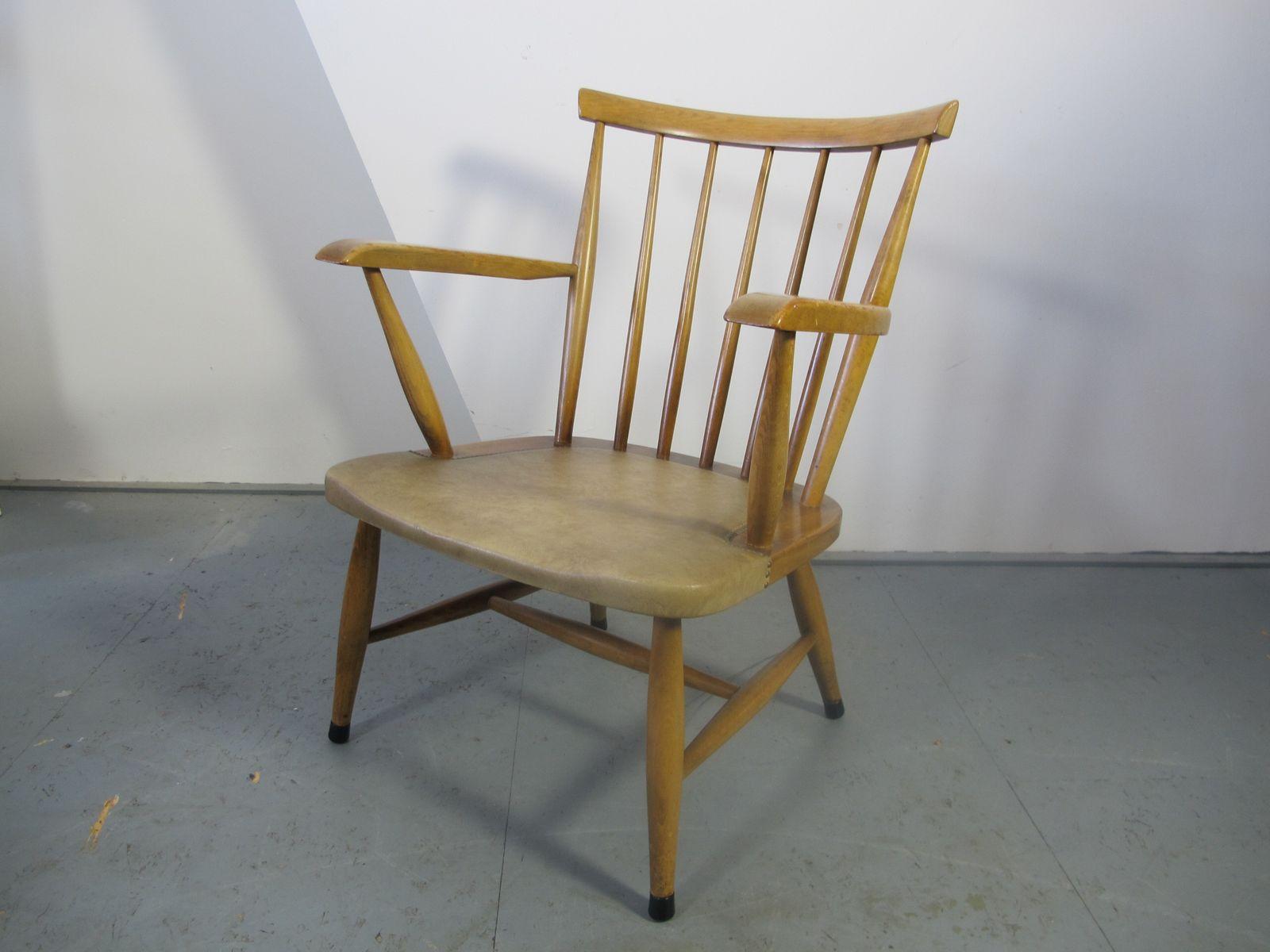 skandinavischer vintage stuhl mit sprossen r ckenlehne bei. Black Bedroom Furniture Sets. Home Design Ideas