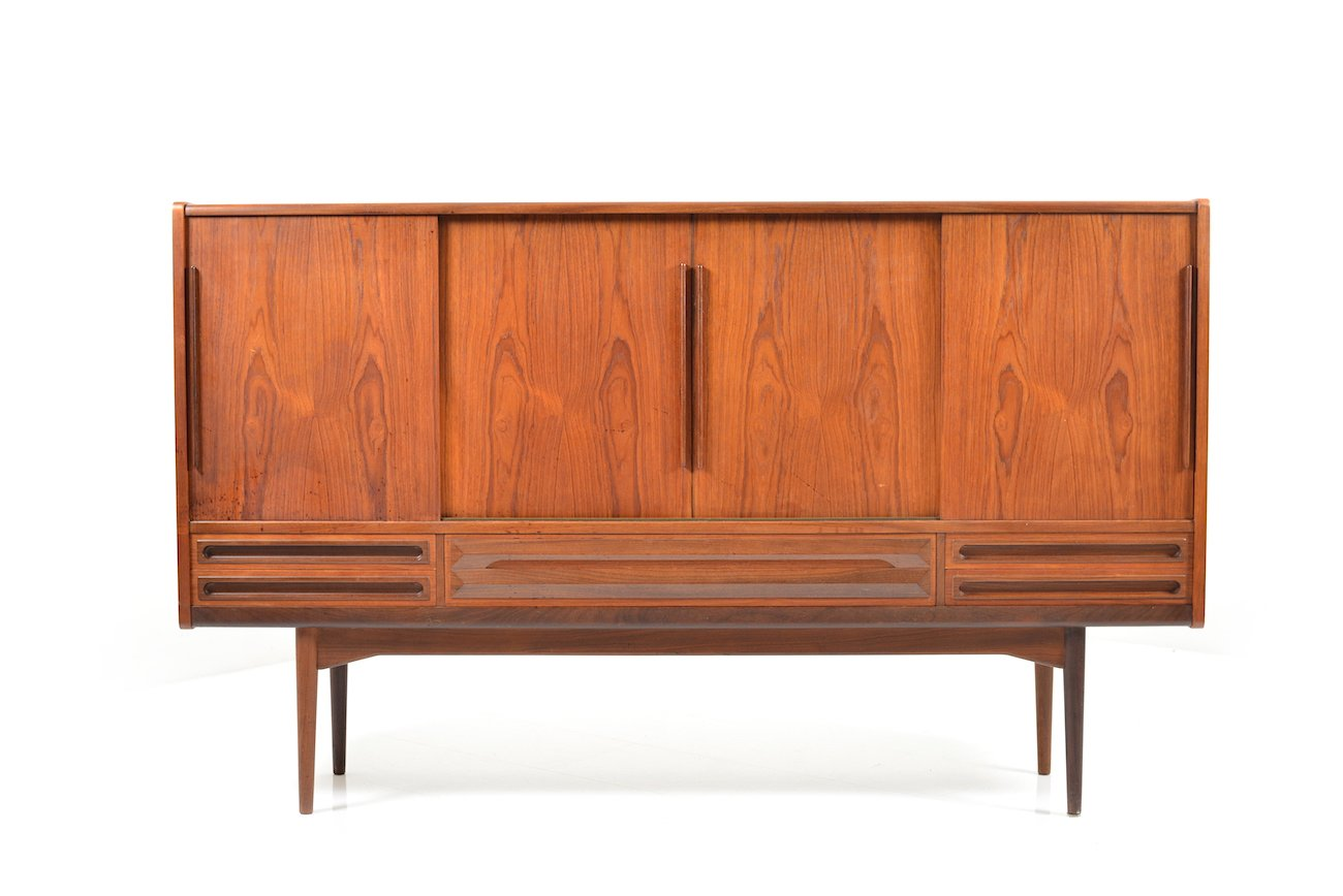 Mid century danish teak sideboard with 4 sliding doors for - Sideboard mid century ...