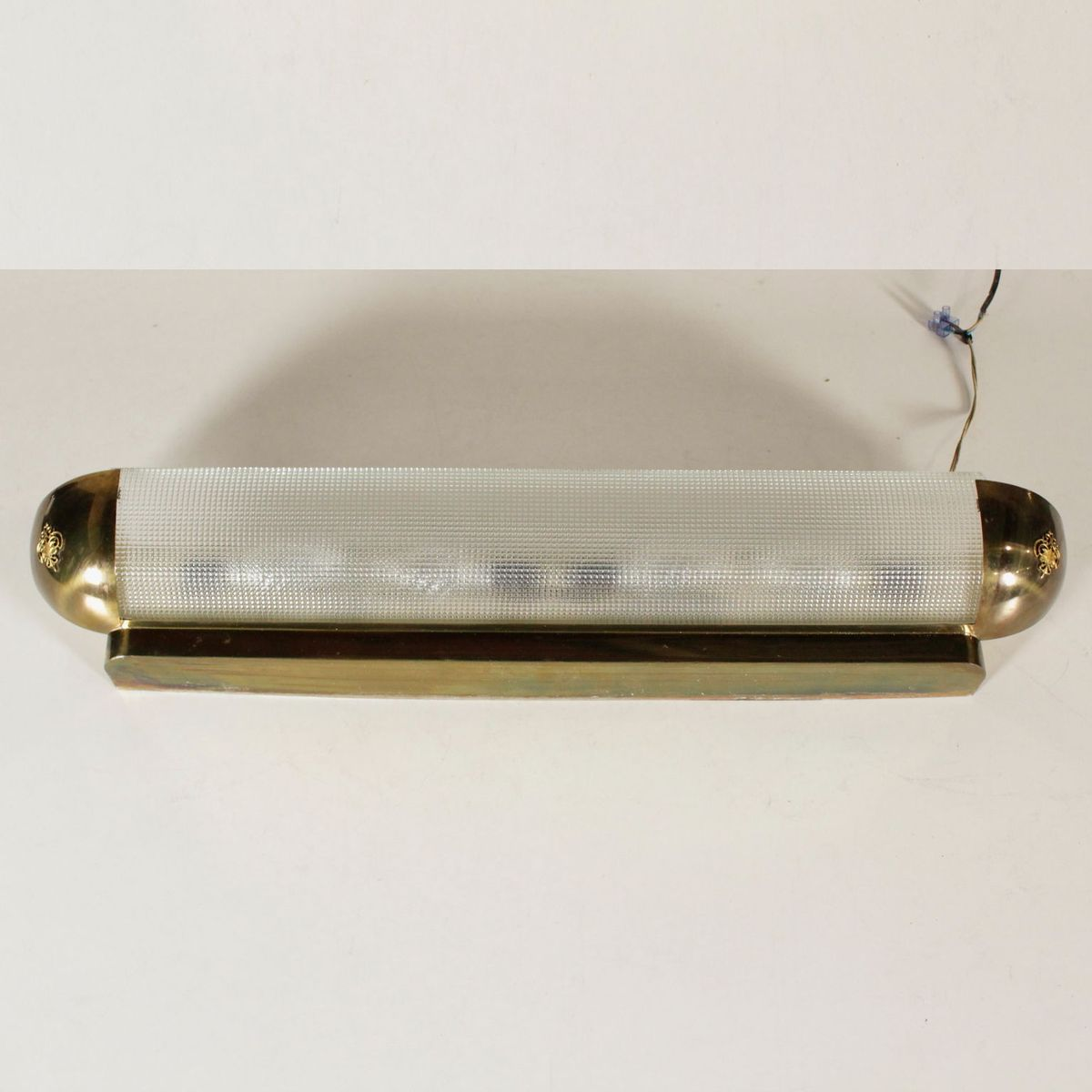 Wall Lamp in Satin Glass & Brass, 1960s for sale at Pamono