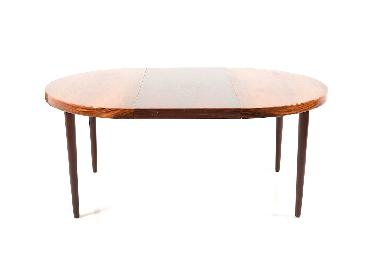 mid century danish extendable round rosewood dining table for sale at pamono. Black Bedroom Furniture Sets. Home Design Ideas