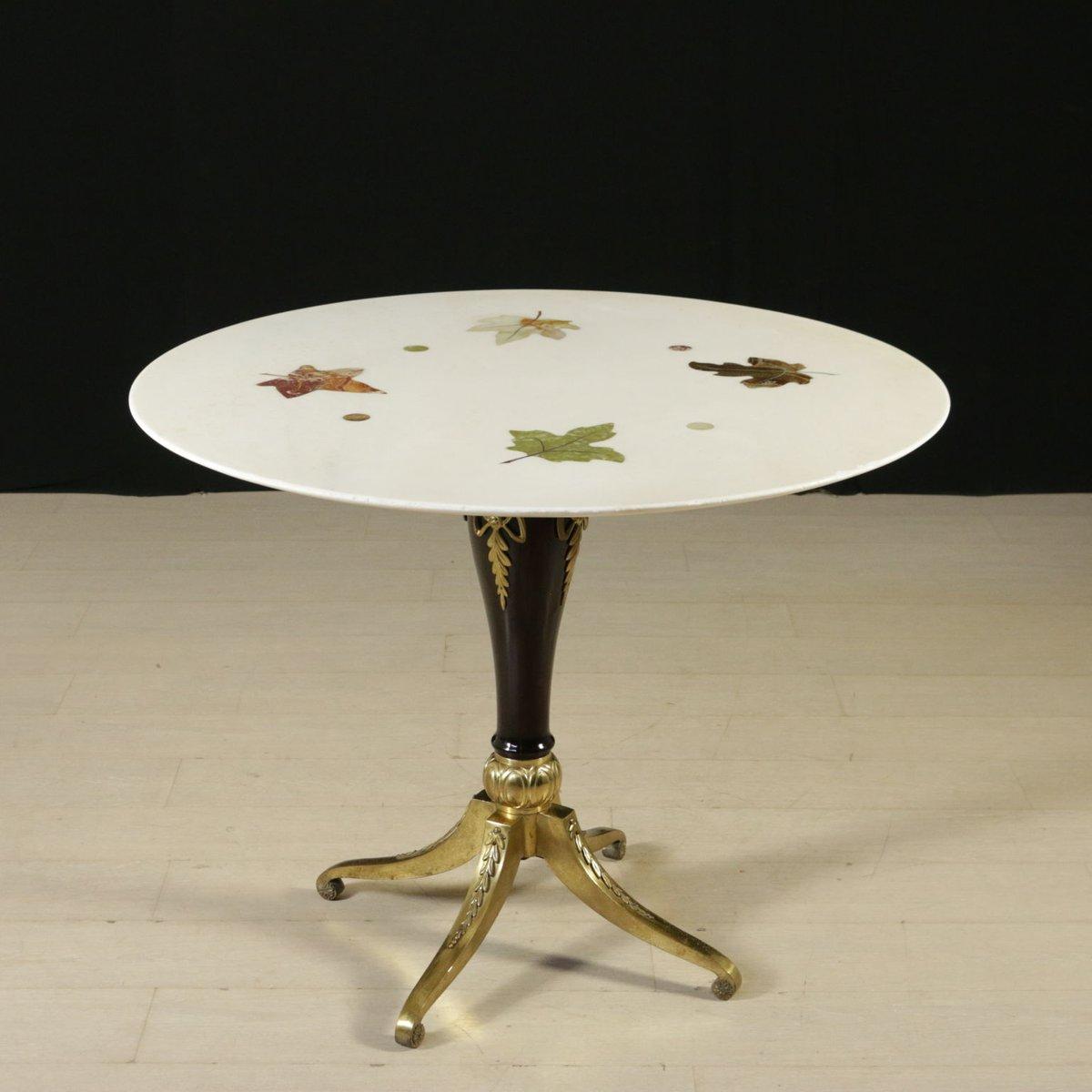 Tisch aus buche messing marmor 1960er bei pamono kaufen for Tisch aus marmor