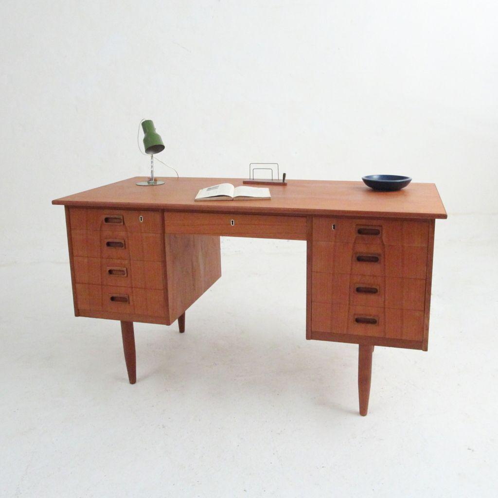 vintage teak schreibtisch bei pamono kaufen. Black Bedroom Furniture Sets. Home Design Ideas
