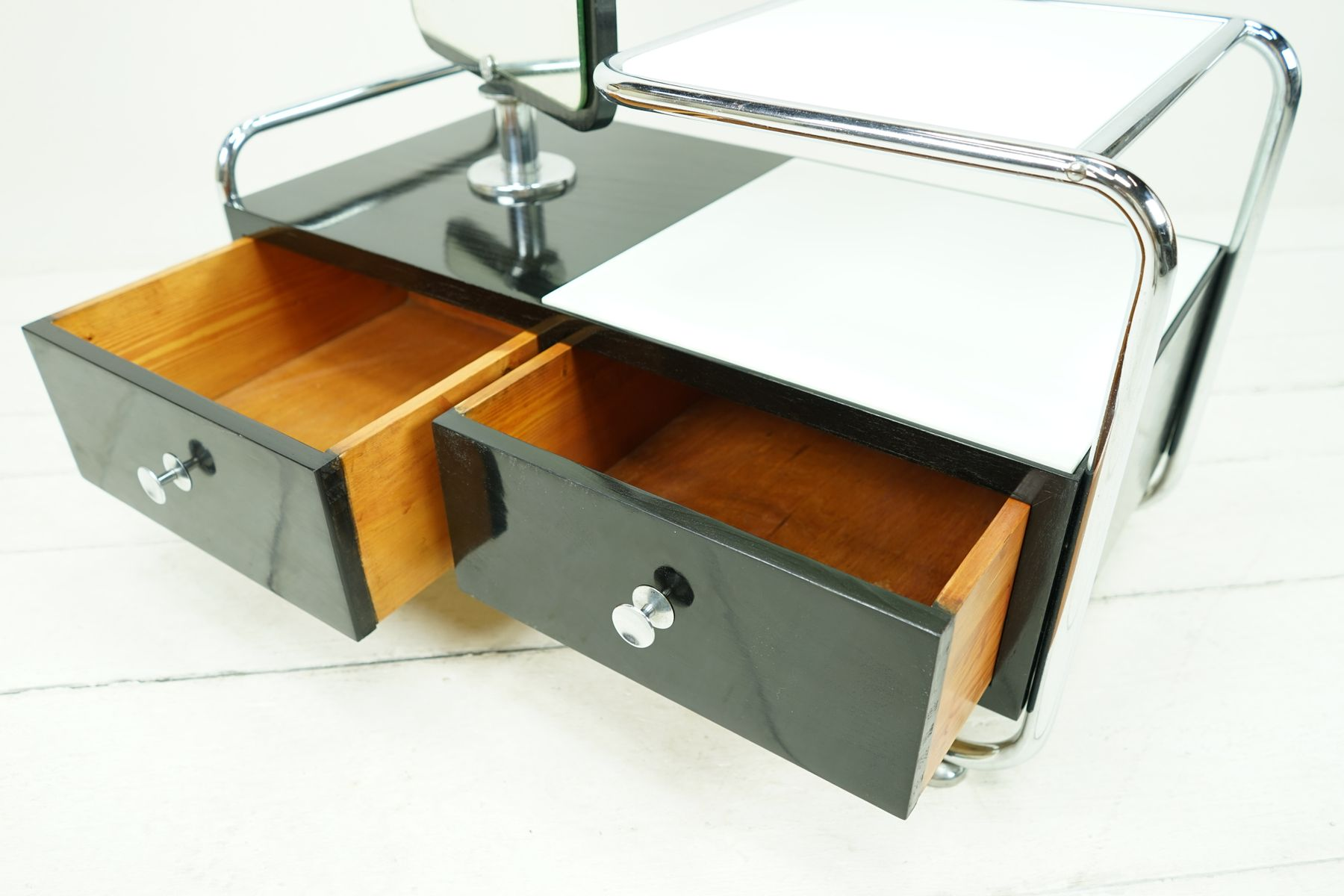 Bauhaus tubular steel dressing table with black shellac