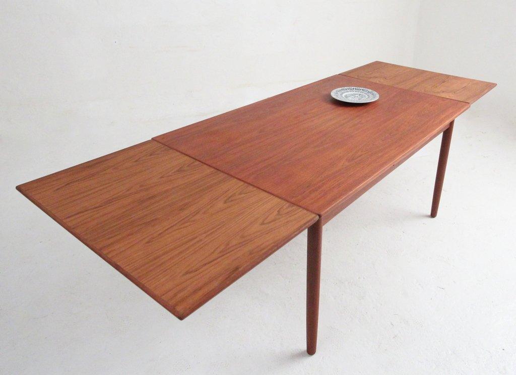 Table de salle manger en teck avec rallonge en vente sur for Table a manger en teck