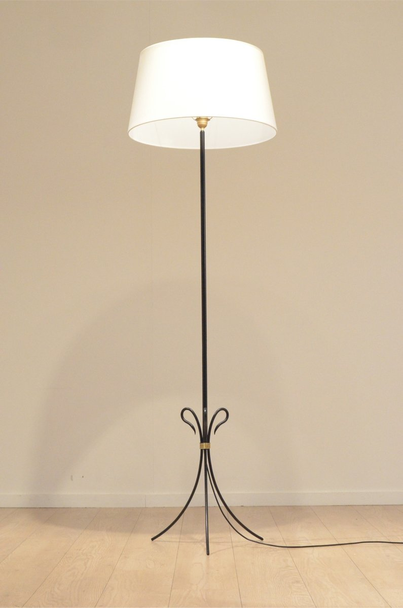 Mid century french black metal and brass tripod floor lamp for Brass tripod floor lamp uk