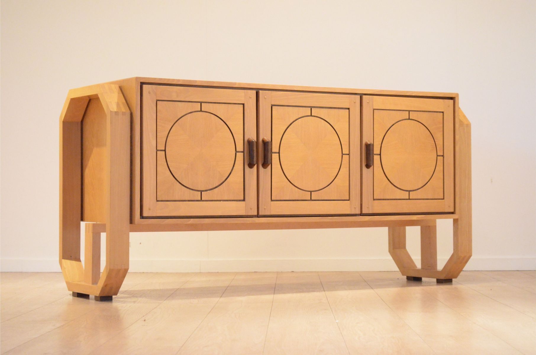 Belgian Graphic Birch amp Wenge Wood Sideboard 1970s For