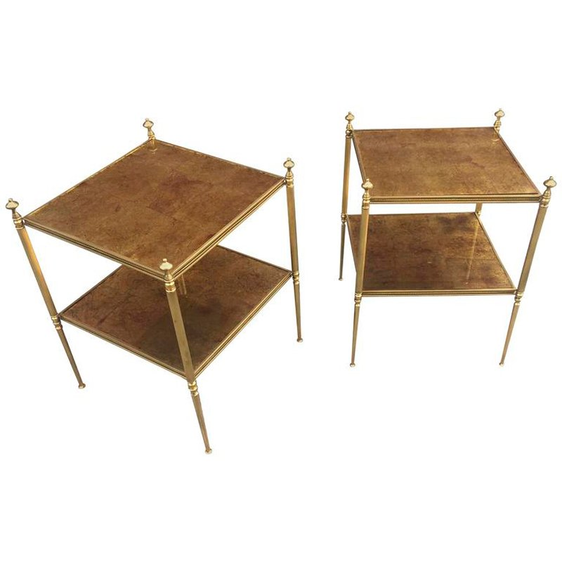 Side Tables In Gilt Metal With Top In Cloudy Mirror From Maison Baguès,  1970s, Set Of 2