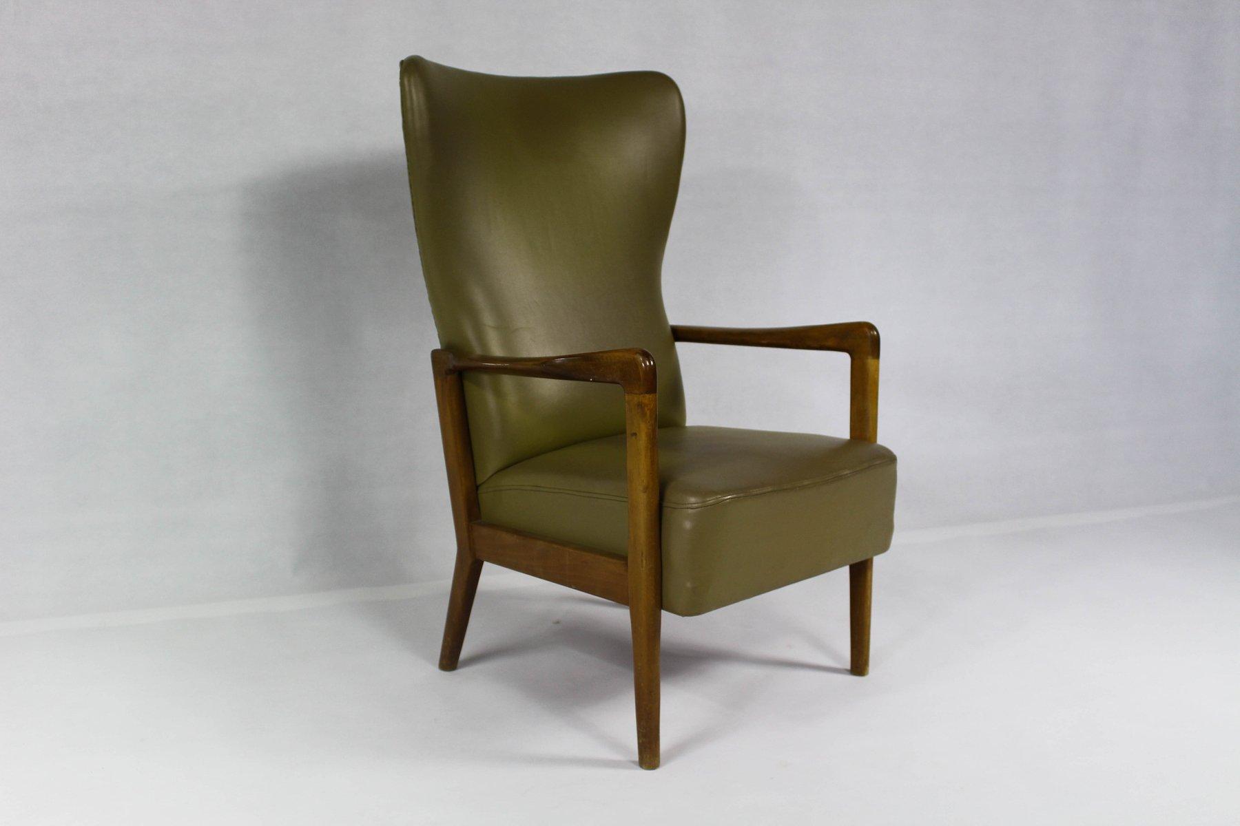 Vintage Danish Wing Chair by Soren Hansen for Fritz Hansen for
