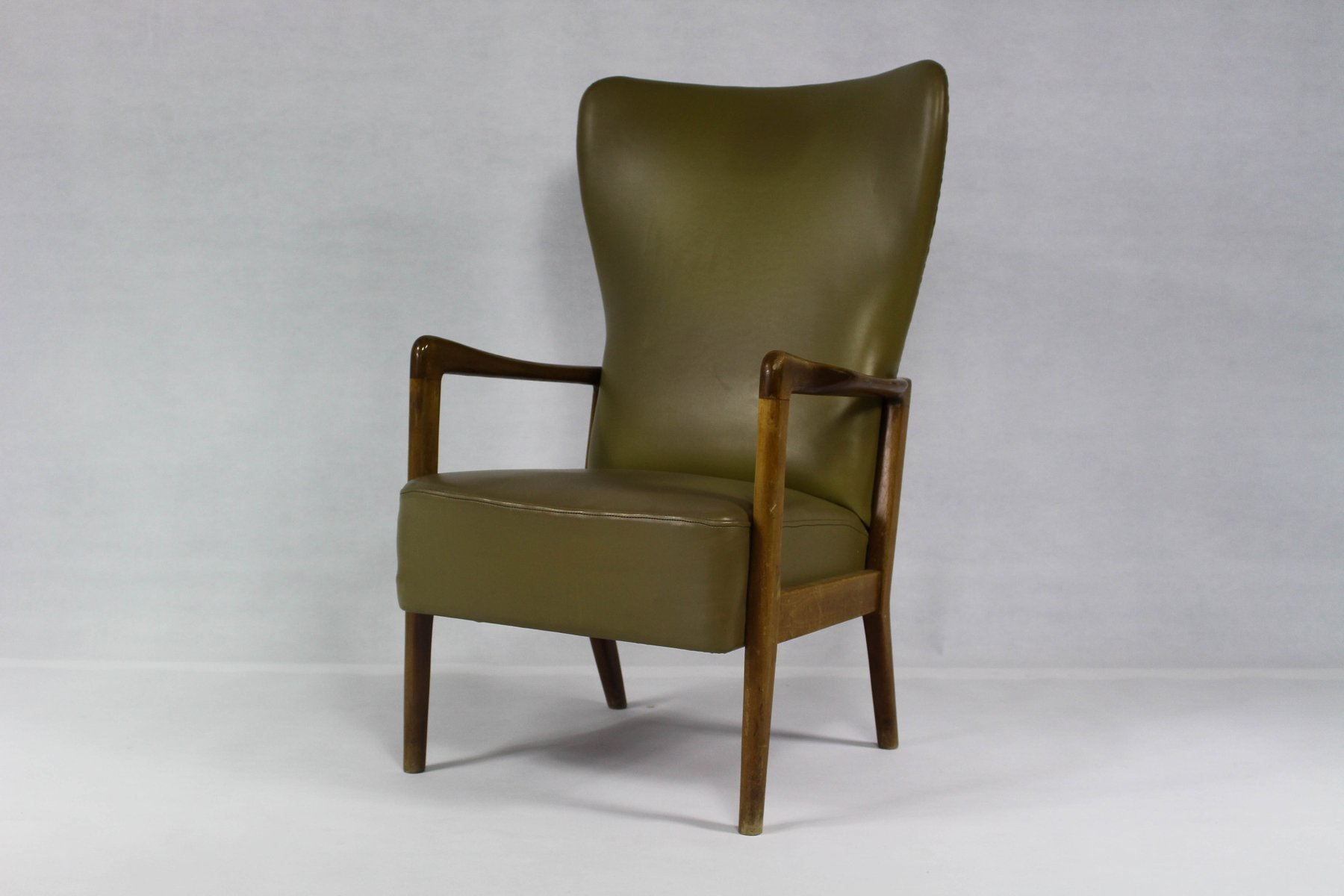 Vintage Danish Wing Chair by Soren Hansen for Fritz Hansen for