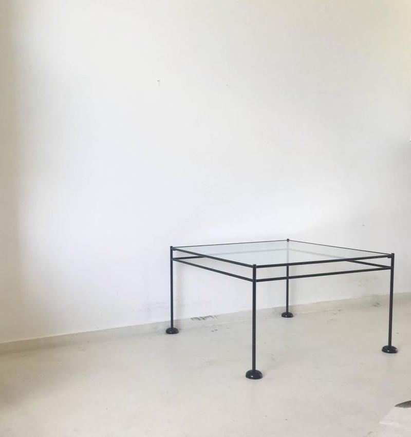 minimalistischer metall und glas couchtisch 1960er bei. Black Bedroom Furniture Sets. Home Design Ideas