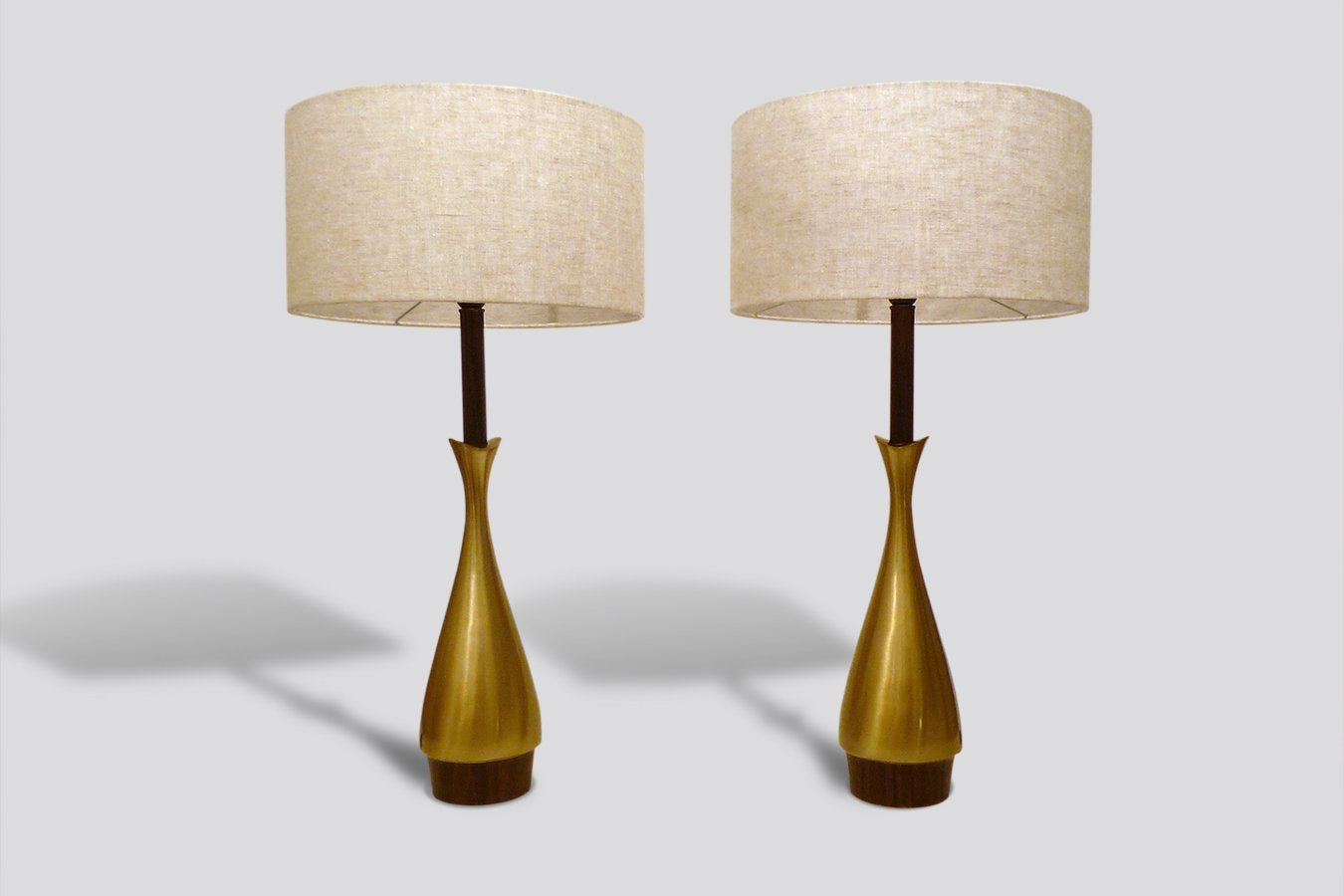 French Matt Brass Table Lamps 1960s Set of 2 for sale at Pamono