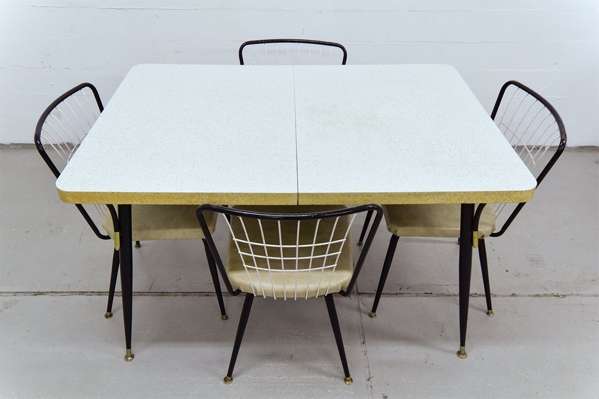 Vintage Dining Table with 4 Chairs for sale at Pamono