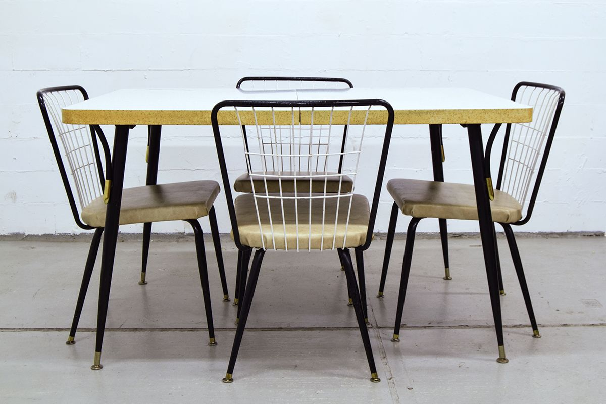 Vintage dining table with 4 chairs for sale at pamono for Table sets for sale