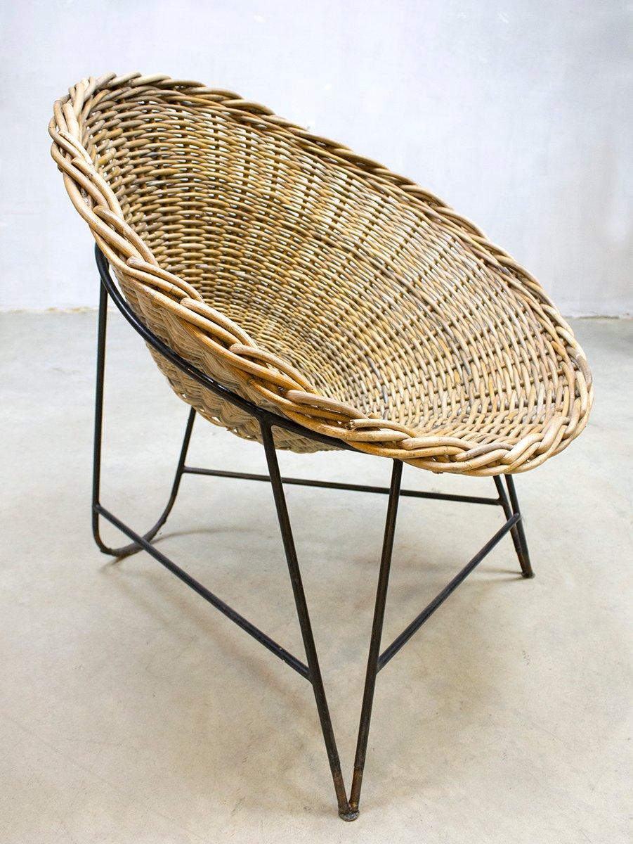vintage gdr rattan basket chair for sale at pamono