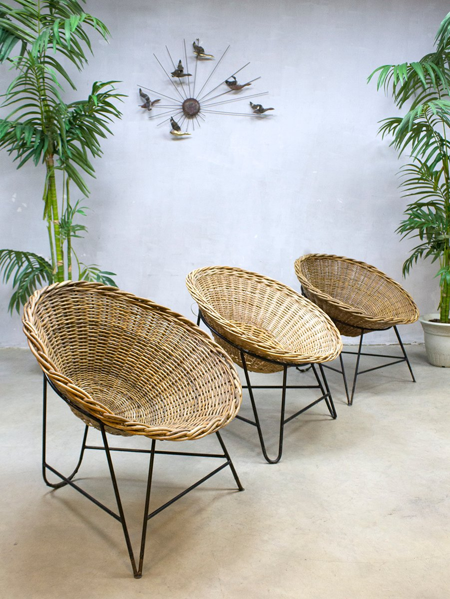 chaise basket rda vintage en rotin en vente sur pamono. Black Bedroom Furniture Sets. Home Design Ideas