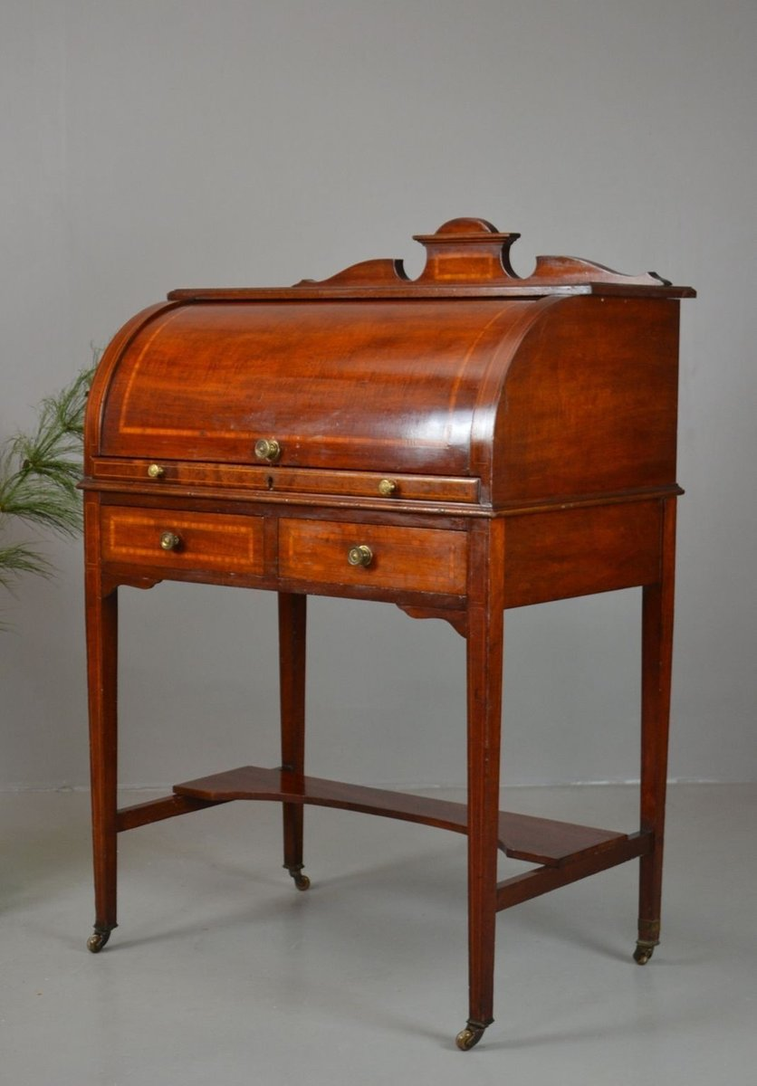 Antique Writing Desk ~ Antique edwardian ladies cylinder writing desk for sale at
