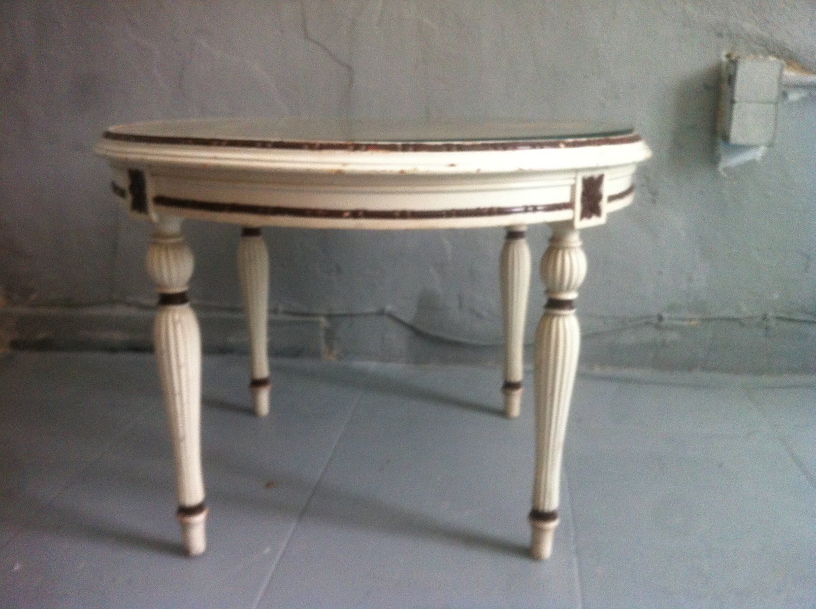 vintage spanish rattan & wood hand carved round coffee table
