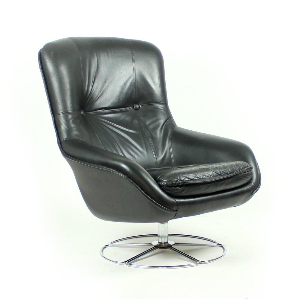 fauteuil en cuir noir de peem finlande 1960s en vente. Black Bedroom Furniture Sets. Home Design Ideas