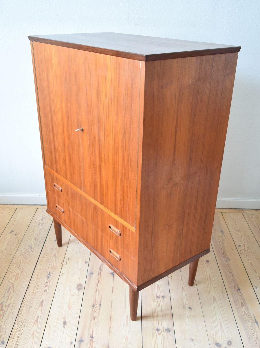 d nischer mid century teak schrank mit zwei schubladen 1960er bei pamono kaufen. Black Bedroom Furniture Sets. Home Design Ideas