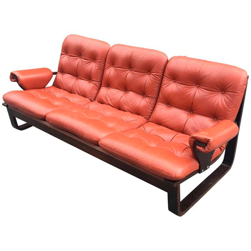 Scandinavian Laminated Wood And Orange Leather Sofa 1960s
