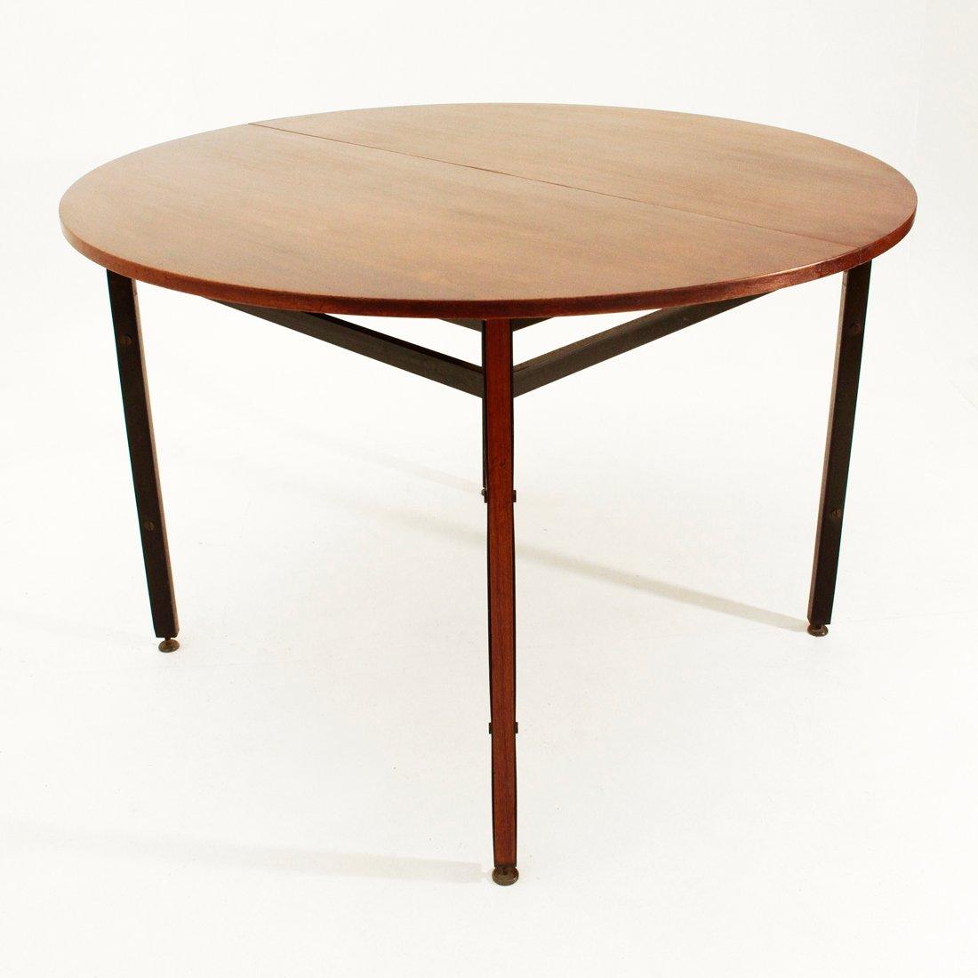 runder teak furnier esstisch 1950er bei pamono kaufen. Black Bedroom Furniture Sets. Home Design Ideas